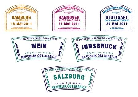 Paspoort postzegels uit Duitsland en Oostenrijk in vector-formaat