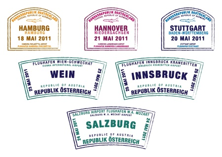 stuttgart: Passport stamps from Germany and Austria in vector format
