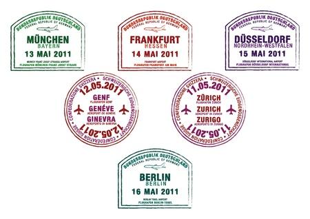 stempel reisepass: Passport Briefmarken aus Deutschland und der Schweiz