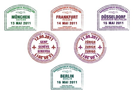 passport stamp: Passport stamps from Germany and Switzerland Illustration