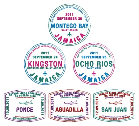 Passport stamps from Jamaica and Ruperto Rico in the Caribbean
