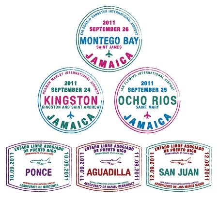 Znaczki paszport z Jamajki i Ruperto Rico na Karaibach Ilustracje wektorowe