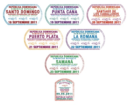 dominican republic: Passport stamps from the Dominican Republic and Haiti on the island of Hispaniola in the Caribbean