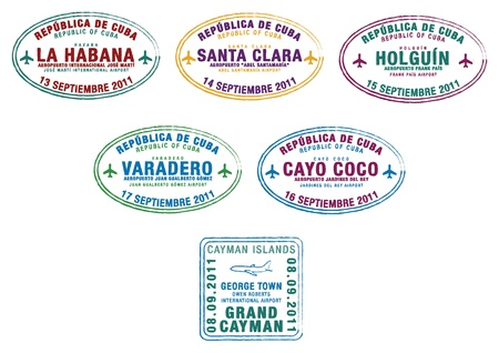 havana cuba: Passport stamps from Cuba and the Cayman Islands in the Caribbean