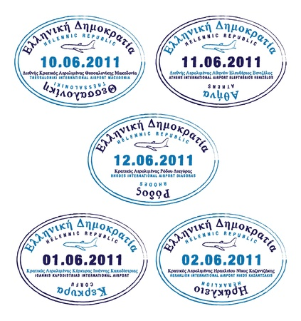rhodes: Passport stamps from Greece Illustration