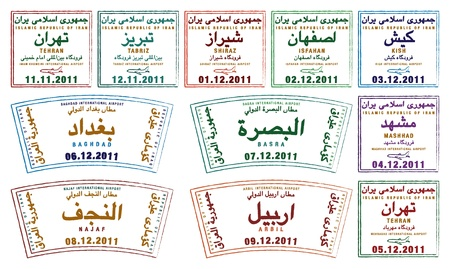 basra: Stylized passport stamps from Iran and Iraq in vector format