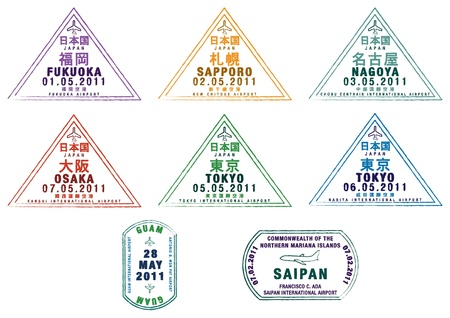 Passport stamps from Japan, Guam and Saipan