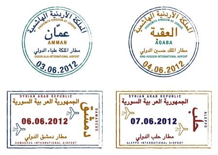 Gestileerde paspoortzegels van Jordanië en Syrië Stock Illustratie