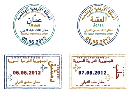 jordan: Stylized passport stamps of Jordan and Syria