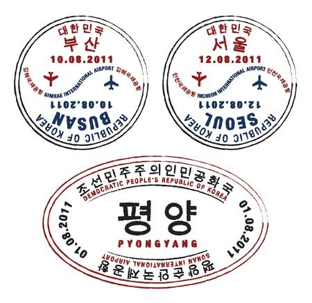 stempel reisepass: Nord-und s�dkoreanische Pa�stempel Illustration
