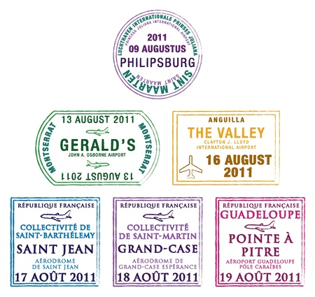guadeloupe: Passport stamps of the Windward Islands in the Caribbean
