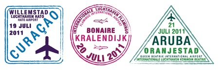 Passport stamps of Aruba, Bonaire and Curacao, also known as the ABC islands, the Caribees or the Lesser Antilles in the Caribbean