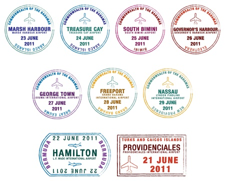 Passport stamps of the Lucayan Islands Bermuda, the Bahamas and Turks Caicos