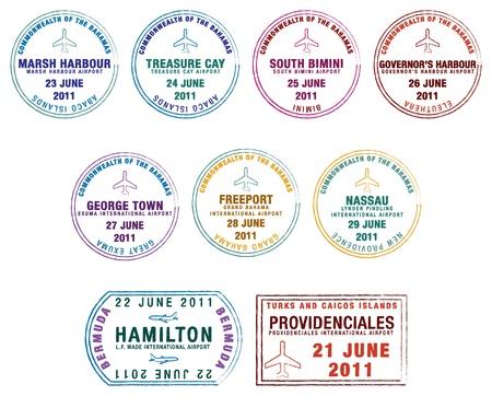 Sellos de pasaporte de las Islas Bermudas Lucaya, Bahamas y las Islas Turcas Caicos Ilustración de vector