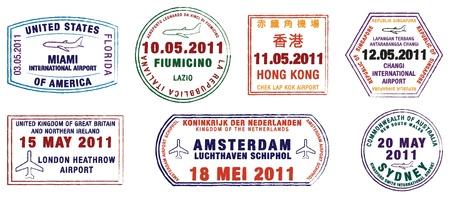 stempel reisepass: Eine Sammlung von Welt Flughafen Briefmarken in Vektor-Format