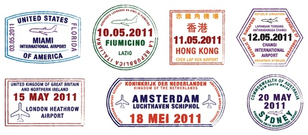 Kolekcja znaczków World Airport w formacie wektorowym