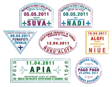 overseas visa: Colorful passport stamps from the Pacific Islands