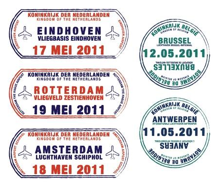 olanda: Passaporto francobolli del Belgio e dei Paesi Bassi Vettoriali