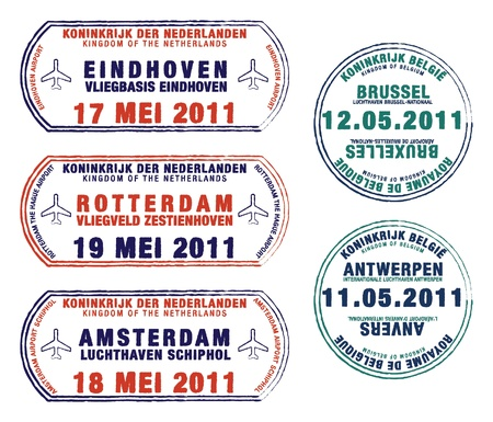 Passport stamps of Belgium and the Netherlands Illustration