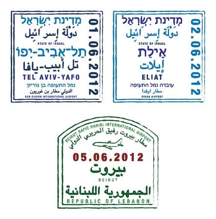 Estilizada pasaporte sellos de Israel y el Líbano en formato vectorial