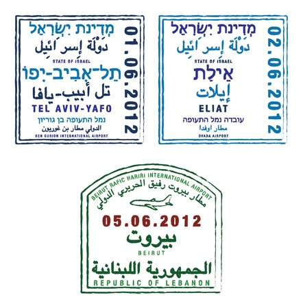 israel passport: Stylized passport stamps of Israel and Lebanon in vector format