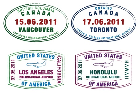 canada stamp: Passport stamps of the US and Canada in vector format  Illustration