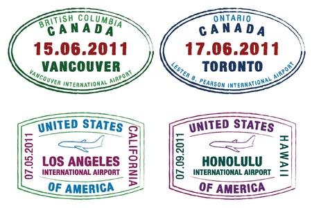 passeport: timbres de passeport des �tats-Unis et au Canada en format vectoriel