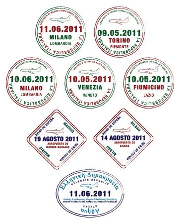 フランス、イタリア、ギリシャからパスポート スタンプ  イラスト・ベクター素材