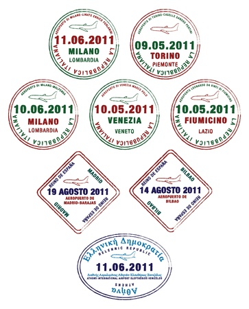 Passport Stamps From France Italy And Greece Illustration