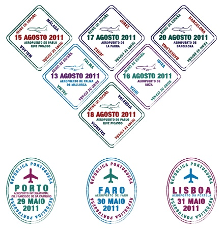 Portuguese and Spanish Passport stamps Vector