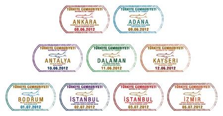 Stylized Turkish passport stamp set