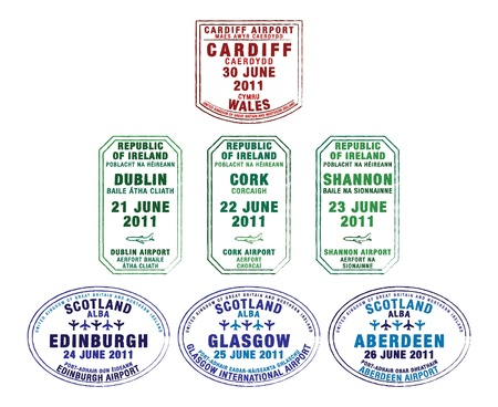Passport stamps of Wales, Republic of Ireland and Scotland in vector format Vetores