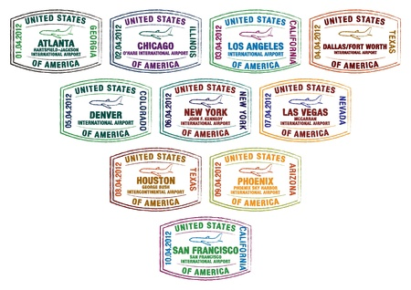 Passport stamps of major US airports Vector