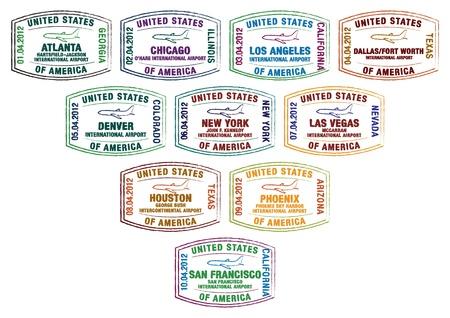 timbres de passeport de grands aéroports américains