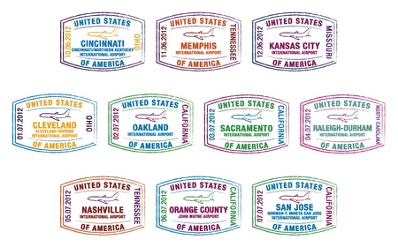 Passport stamps of major US airports