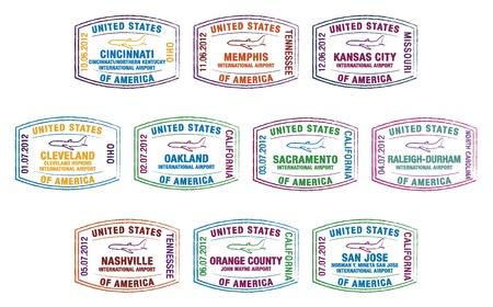 overseas: Sellos en el pasaporte de los principales aeropuertos de Estados Unidos