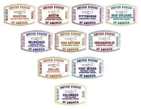 new orleans: Passport stamps of major US airports