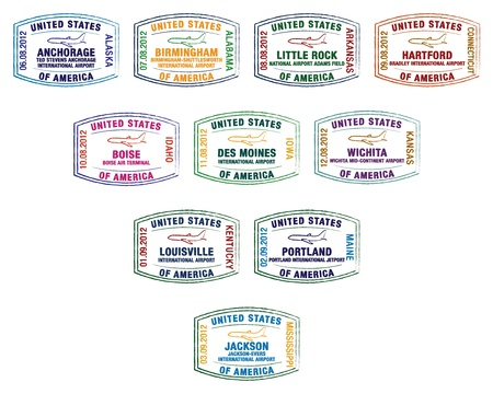 Passport stamps of major US airports Stock Vector - 19402059