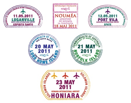 vanuatu: Passport stamps from the western Pacific Island countries Illustration