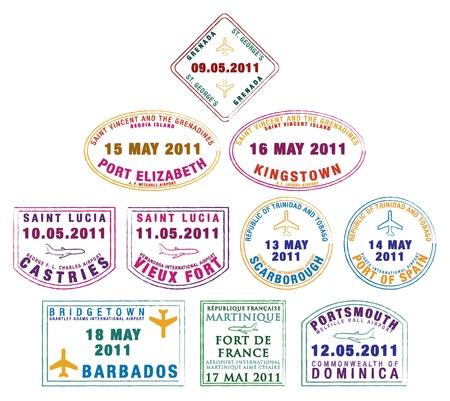 martinique: Sello en el pasaporte de las Islas de Barlovento en el Caribe