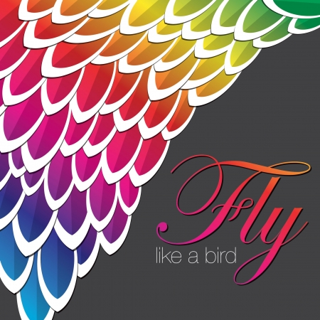 Rainbow inspired abstract feather background in vector format  Vector