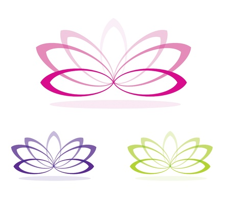 ovalo: Flores de loto simples en formato vectorial Vectores