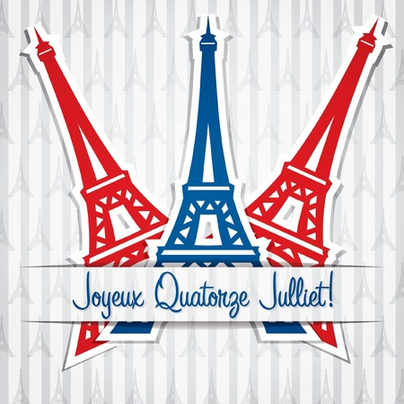 bastille: Eiffel tower sticker Bastille Day card in vector format  Illustration
