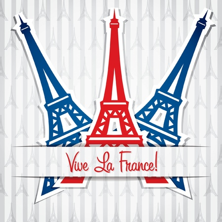 bastille: Eiffel tower sticker Bastille Day card in vector format  Illustration
