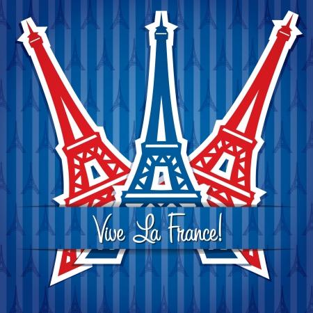 bastille: Eiffel tower sticker Bastille Day card  Illustration
