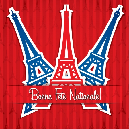 Eiffel tower sticker Bastille Day card in vector format  Vector