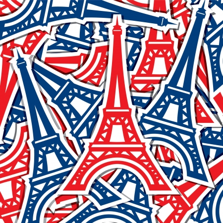 freedom tower: Eiffel Tower sticker card in vector format