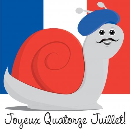 slow food: Lumaca in un berretto Bastille Day card in formato vettoriale Vettoriali