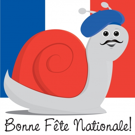 bastille: Snail in a beret Bastille Day card in vector format  Illustration