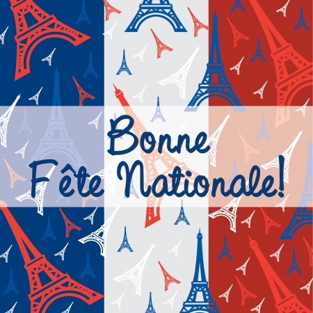 Bastille Day card in vector format  Vector